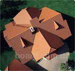 Такая крыша состоит из четырёх скатов.  Два из них имеют форму трапеции, а два - форму треугольника.