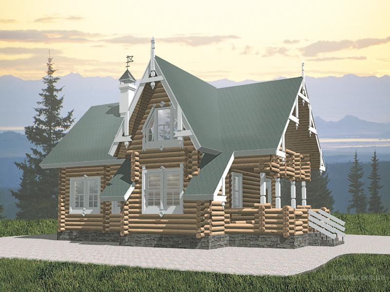 Проекты коттеджей бревно Компактный деревянный дом.