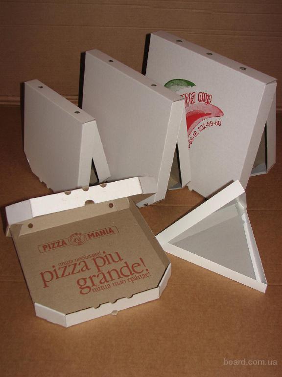Производим коробки для пиццы, а так же сектора и уголки с нанесением флексопечати.  Любые размеры и конфигурации.