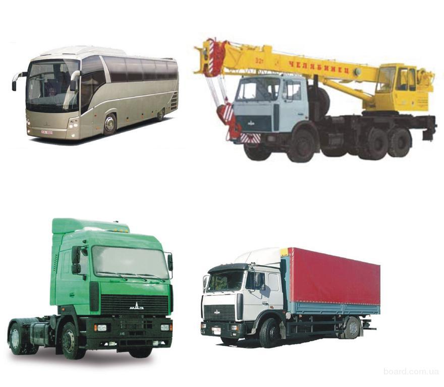 модельный ряд МАЗ: автобусы самосвалы тягачи бортовые прицепы полуприцепы - Украина.