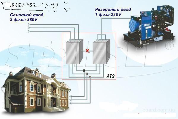 На рисунке изображено подключение дизель генераторной установки с системой автоматического запуска.