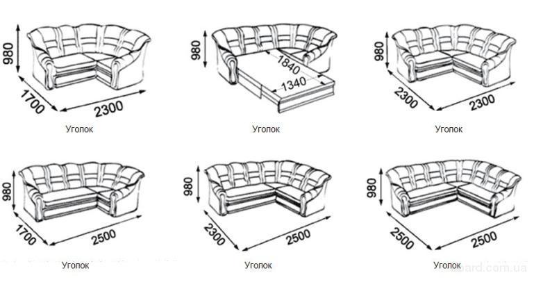 чертежи разной мебели с размерами