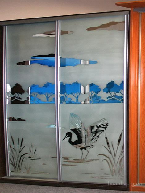 Красивые рисунки на ваш шкаф купе, покраска стекла в любой цвет, кухни, детские, офисная мебель...