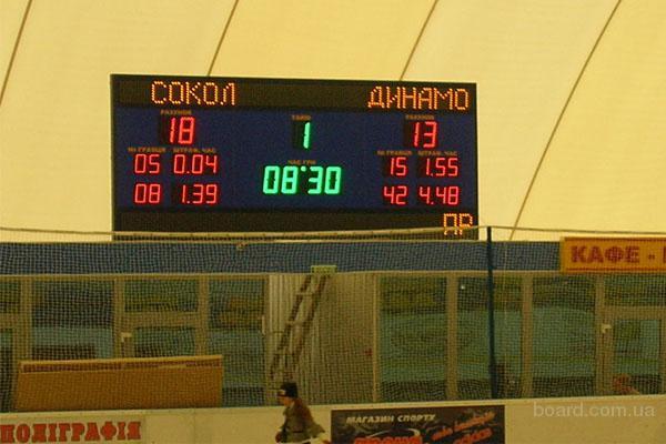 Табло спортивные светодиодные, часы для улиц и помещений.  100x66 - 600x400 www.promworld.ru.
