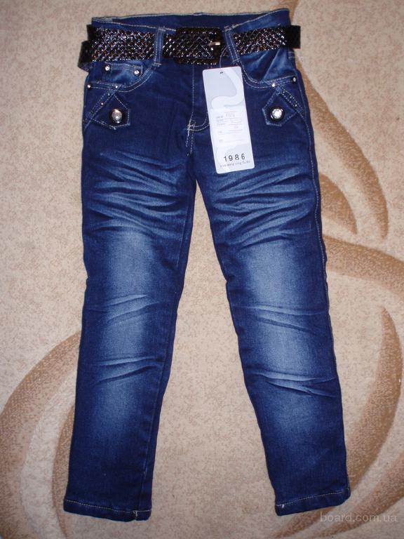 детские теплые джинсы-скини на флисе на девочек