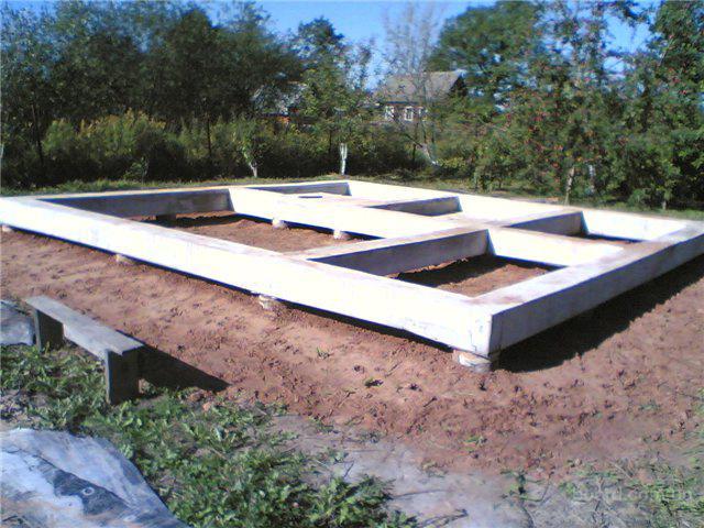 при строительстве здания, стены которого будут передавать незначительную нагрузку (деревянные, щитовые, каркасные)...