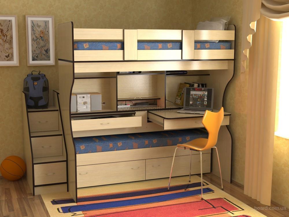 """Двухъярусная кровать с лестницей-ящиками от компании """"Мебель ТСК"""""""