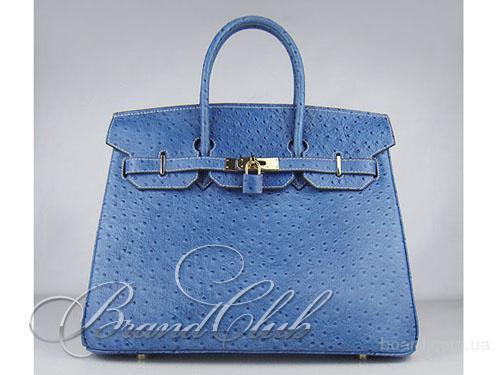 Реплика Hermes Birkin сумки 035 страуса синий (золото)