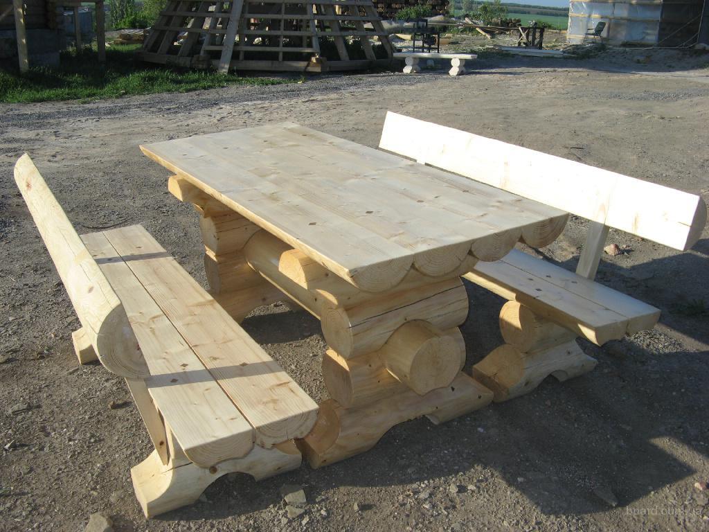 Скамейка и стол из бревна своими руками 30
