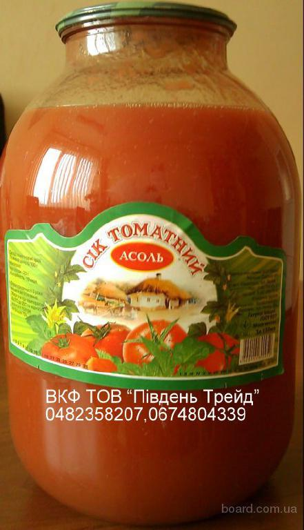 Сок томатный натуральный 3л с/банка.