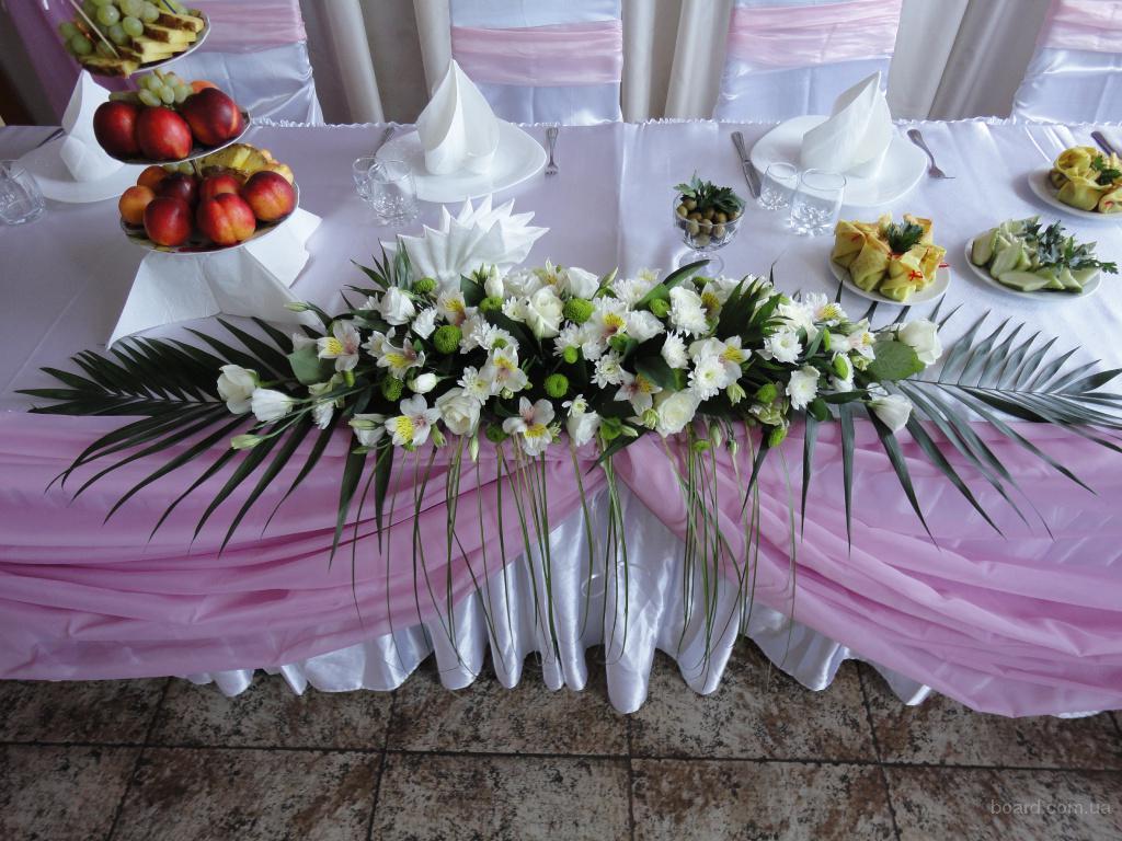 Оформление зала тканью и цветами