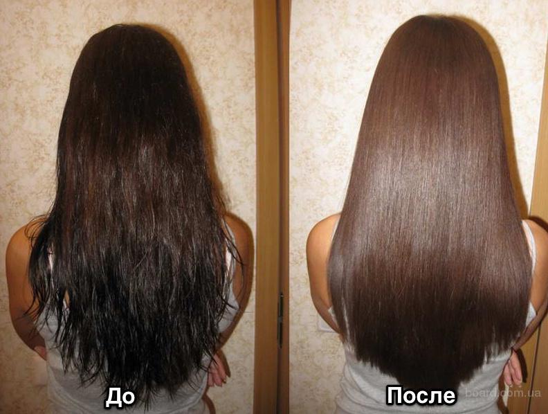 Кератиновое выравнивание волос.