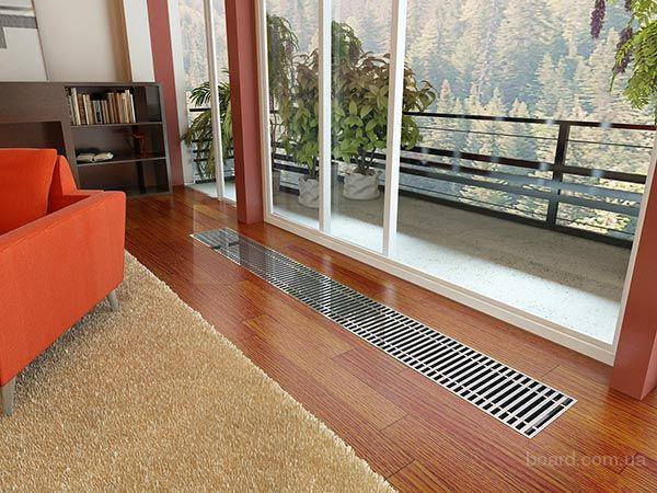 Внутрипольный конвектор водяного отопления и комплектующие (решетка декоративная )