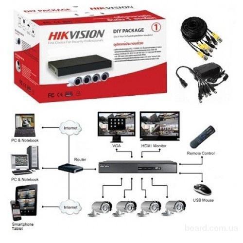 Комплект TurboHD видеонаблюдения Hikvision 4 камеры 720P